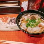 KASUYA - カスうどん(ちょっといい肉+50円)オニギリ+50円 合計700円