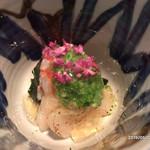 よし川 新別館 - 平貝と車海老のジュレにオクラを添えて
