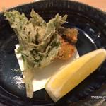 よし川 新別館 - 山菜とグリーンアスパラガスの天ぷら