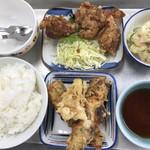 107641314 - 鳥の唐揚げ、ちくわの天ぷら、ポテサラ、ごはん大、豚汁