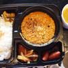 Hubachar - 料理写真:4種のアチャール(イカ、牛蒡、新タマネギ、イチゴ!)+インディカ米+チキンキーマ。穏やかな中にもエッジの効いたスパイス香るチキンキーマと個性的かつ上品なアチャールの素晴らしい調和。¥1080  マサラモアさんの「レンズ豆とアスパラのカレー¥340 オプションでつけました