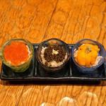 十番右京 - 贅沢! 海の宝石 おちょこ丼 3個セット  いくら、キャビア、ウニ