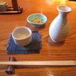 蕎・馳走 岩舟 - 燗酒とお通しの「揚げ蕎麦」