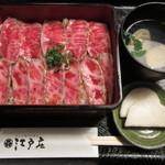 江戸庄 - 村上牛 レアステーキ丼(上) 2700円 (2019.4)