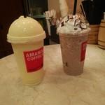 アマンダコーヒーズ - マンゴーミルクシェキラートGrandeサイズ、モカシェキラートGrande