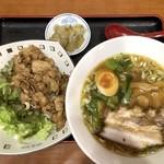 十八番 - ラーメン・カルビ丼(950円)