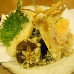神馬 - キスの天婦羅、野菜つき