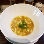 107754831 - フラスコのようなかわいい器に入ったつけ麺スープ