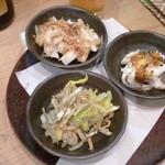 10777744 - おまかせ前菜3種盛り500円!鯛・山芋・ちりめんじゃこです。