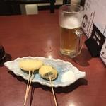 麺どころ 千屋 - 串カツ、玉ねぎ、茄子、各100円!