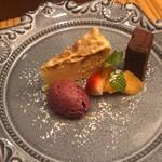 フルエンテ - チーズケーキ アマレッティ(お茶菓子) バンドショコラ ミックスベリーアイスのドルチェ