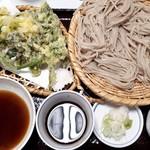 戸隠蕎麦やまざと - 大盛りざるそば+春の山菜天ぷら