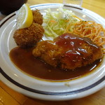 洋食のグルメ - ハンバーグとカニクリームコロッケ