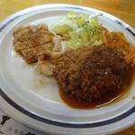 洋食のグルメ - ポーク生姜焼きとメンチカツ