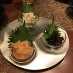 旬鮮炭火焼 獺祭 - 酒の肴3種