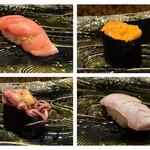 鮨懐石 みどり - 大トロ、雲丹、ホタルイカ、炙り鰆