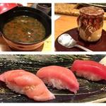 鮨懐石 みどり - 赤出汁、プリン、大トロ中トロ赤身