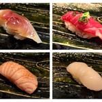 鮨懐石 みどり - 〆サバ、桜肉、炙りサーモン、ホタテ