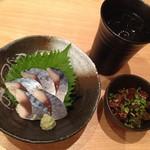 Sakanayadoujou - 〆鯖の刺身 と 大分焼酎 醇醸麦