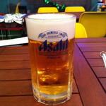 屋上バーベキューにっぽり駅前公園 - メガジョッキのビール(780円)