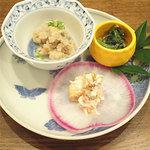 つむぎや - 金柑と柿の白和えなどの前菜。