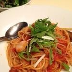 トラットリア パパミラノ - パスタランチタコと水菜のトマトソース