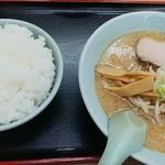 熊っ子ラーメン - ラーメンライスセット(味噌・ライス大盛無料)730円(込)