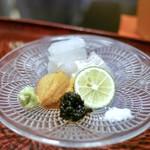 日本料理 晴山 - ☆剣先イカ、紫雲丹、マコガレイ