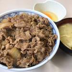 牛丼専門サンボ - 牛丼専門サンボ(牛丼大盛みそ汁玉子)