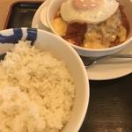松屋 - 料理写真:トマトフォンデュソースのエッグビーフハンバーグステーキ定食ライス大