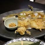 茨城地産地消の店 あんこう鍋×常陸牛 もんどころ - 芽子にんにく天ぷら