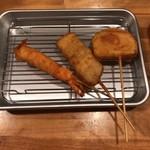 麺匠 和蔵 - 串揚げ 海老、豚バラ、はんぺん