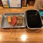 麺匠 和蔵 - 串揚げ チーズ、紅生姜、ナス