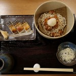 手打ちそば まえかわ - なめこぶっかけ+焼き鯖の押し寿司