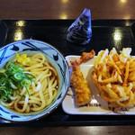 丸亀製麺 - ぶっかけ&かしわ天&野菜かき揚げ