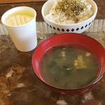 107960973 - ふりかけご飯・味噌汁・りんごジュース