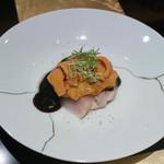野嵯和 - 金目鯛 雲丹 海苔醤油と白七味で