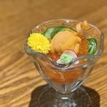 旬菜 さかなと酒 匠海 隠れ家 - 雲丹といくら盛り¥880