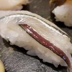 107975183 - ①細魚(サヨリ)                       産卵期は初夏~夏、旬は秋~冬。                       旬でもないし、魚体は大きくもないのですが、癖がなく食べ易い。                       1貫100円とすれば意外と良いかも。