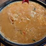 麺屋 赤橙 - 余ったスープに、ご飯と卵を入れておじやにしていただくのである。