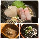 hakataunagiyafujiuna - ◆お刺身は「カンパチ」と「鯛」・・どちらも普通。 ◆かしらの南蛮漬け・・かしらは本来硬い部分ですけれど、南蛮漬けにすることで柔らかく食べやすいですね。 少し甘めのお味付けも好み。 ◆肝吸い