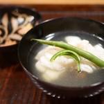 京天神 野口 - お椀 アブラメ葛打ち、焼き茄子