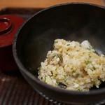 京天神 野口 - 穴子と唐墨の炊き込みご飯