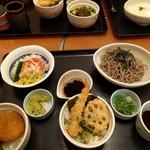 108023012 - タレカツ丼+ノリ塩天丼+冷ソバ 1077円