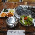 焼肉明洞 - ランチのサラダとナムルとご飯