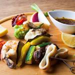 海の幸と野菜のブロシェット