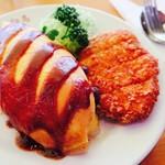 レストラン 白鳥 - オムライス、チキンカツ付き