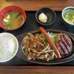 街かど屋 - 焼肉ミックス定食 990円(税込)。     2015.05.12