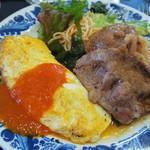 10811028 - ペアランチ \840 豚肉生姜焼き プレーンオムレツ