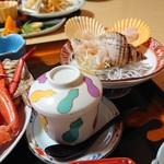 味処・民宿 まつや - 2019年5月 茶碗蒸しとバイ貝の刺身
